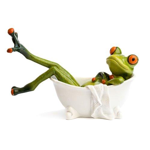Deko Frosch in Badewanne, Dekofigur Frosch, hellgrün, Höhe ca. 10cm