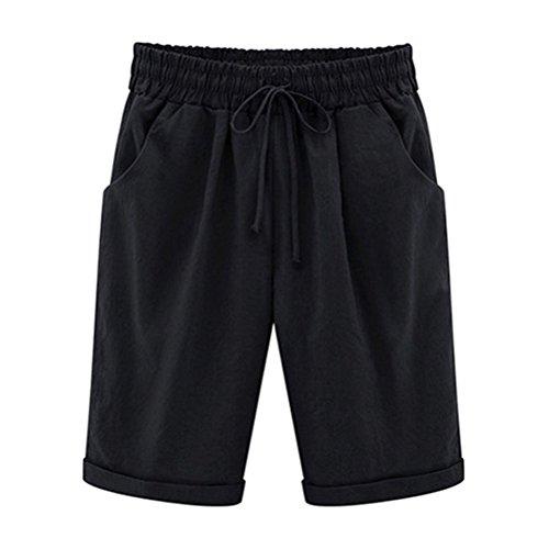 Bermuda Shorts Damen Knielang Sommerhose Kurze mit Gummizug Frauen Große Größen Loose Stoffhose Stretch