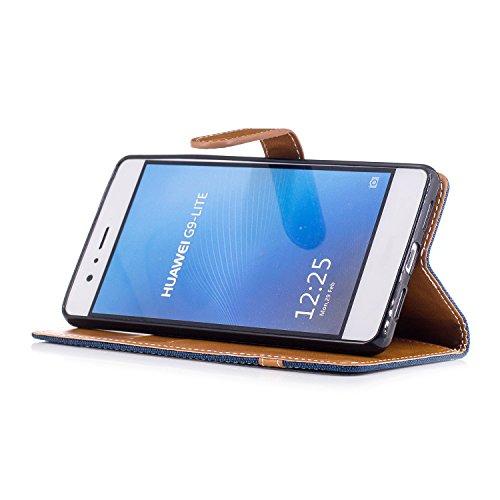 Custodia per Huawei P9 Lite, ISAKEN Flip Cover per Huawei P9 Lite con Strap, Elegante Bookstyle Contrasto Collare PU Pelle Case Cover Protettiva Flip Portafoglio Custodia Protezione Caso con Supporto  Marrone+blu navy