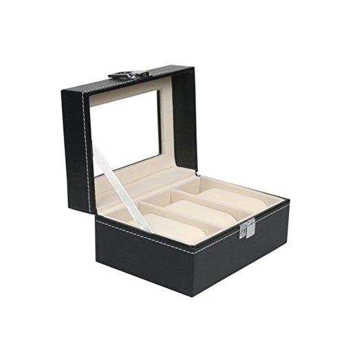 ueetek reloj caja de anuncios grande 3rejillas Hombres Negro Piel Sintética pantalla funda Joyero organizador caja regalo cubierta de almacenamiento con cerradura y esp
