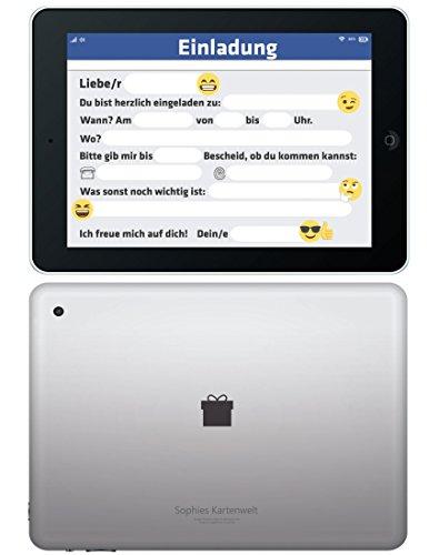 """""""Tablet"""" Einladungskarten Sets Kindergeburtstag / Geburtstagseinladungen Jungen Mädchen Kinder / Einladungen Smiley Emoji - von Sophies Kartenwelt (Silber-matt)"""