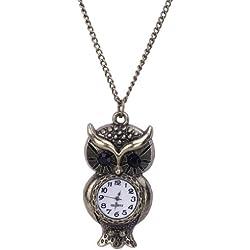 Eozy 5.7cm*2.7cm Owl Shaped Steampunk Analog Glass Dail Pocket Watch Quartz Clock Necklace Chain