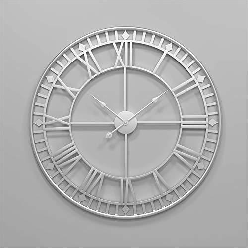 Wanduhr Wall Clocks Wanduhren 80cm große Metall dekorative römische Ziffern 3D-Skelett Stille Uhr Silber für Küche, Schlafzimmer, Garten, Wohnzimmer, Arbeitszimmer, Büro (Durchmesser: 34 Zoll)