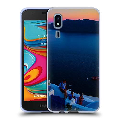 Head Case Designs Offizielle Haroulita Terrasse Santorini Sonnenuntergang Soft Gel Huelle kompatibel mit Samsung Galaxy A2 Core (2019) - Terrasse Sonnenuntergang