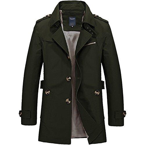Oderola Herren Windbreaker Jacken In der langen Abschnitt Jungen Reverskragen Trenchcoat Übergröße Mantel Outwear Jacken & Mäntel Grün