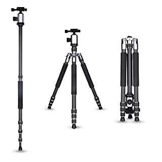 Rollei Allrounder Carbon tripod Silver with ball head - compatible with DSLR & DSLM cameras - incl. monopod, Acra Swiss quick release plate & tripod bag