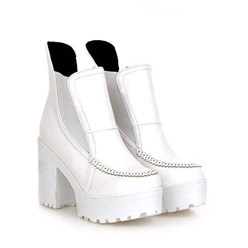 ZQ@QX In autunno e in inverno, testa tonda impermeabile dello spessore di Taiwan con contemporanea europea e americana di set di piedi nudi calzature scarpe con i tacchi alti e stivali white