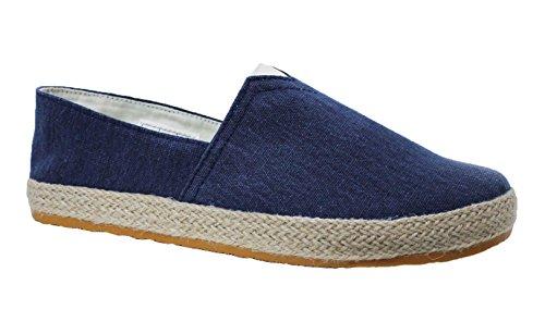 Mocassini espadrillas uomo artigianali casual blu scarpe basse estive tela corda (42)