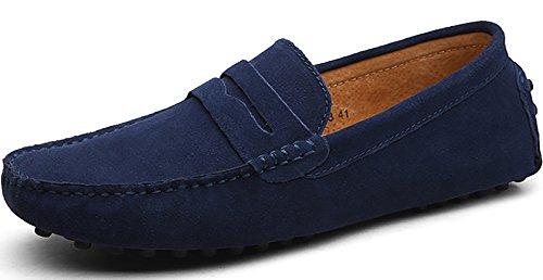 Odema Homme Slip On Penny Mocassins Casual Suede Mocassins en cuir bleu profond