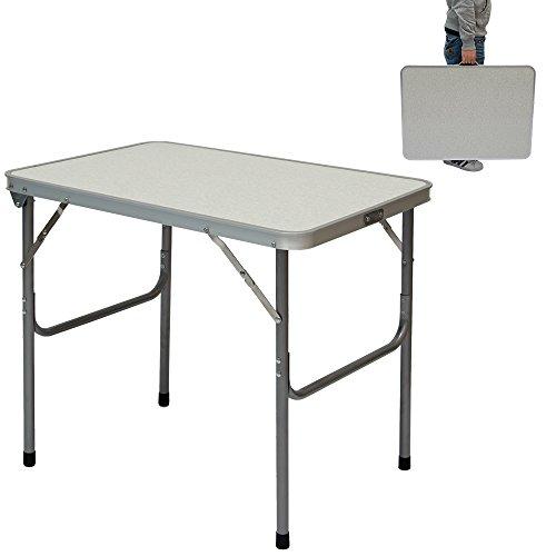 Campingtisch aus Aluminium Klapptisch 70x50x60 cm Stahlrahmen Widerstandsfähiger MDF-Tischplatte praktisches Kofferformat
