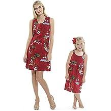 3b5ede0ff Madre Hija Hawaiian Luau Outfit Navidad Mujeres Vestido de niña Rojo Santa  Flamingo