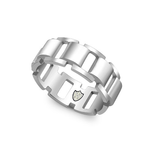Hoxton London Herren-Ring Brick hochglanzpoliert Offene Square Link Gr.68 (21.6) 0.48.4020 (Band Ring Square)