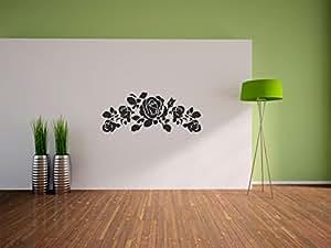 Pixxprint, Adesivo decorativo da parete, per il soggiorno, la camera o la cameretta dei bambini, motivo: Rose, Nero (Schwarz), 1200 x 483 mm