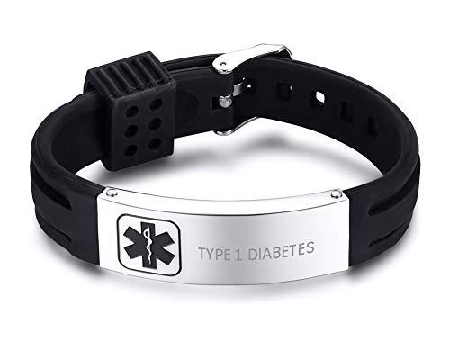 XUANPAI Edelstahl Silikon Medical Alert Name ID Tag Armband Armband Frauen Männer Einstellbar, TYP 1 Diabetes (Medizinische Notfall Tasche)