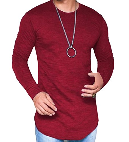 CuteRose Men Round Neck Long-Sleeve Classic Fit Matching Tees Shirt Red XS Ralph Lauren Classic Chino