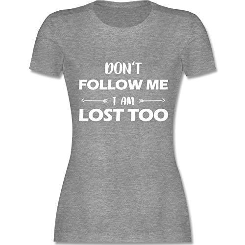 Festival - Don\'t Follow me I am Lost Too - Pfeile - M - Grau meliert - L191 - Damen Tshirt und Frauen T-Shirt