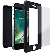 Funda iPhone SE 360 Grados + Cristal Templado, Mobilyos® [ 360 ° ] [ Negro ] Case, Cover, Funda iPhone 5s 360 Grados