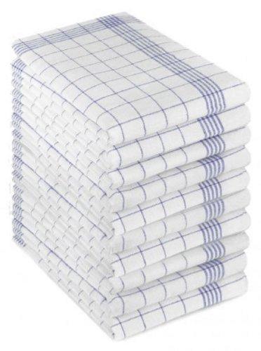 Triolino 10 Geschirrtücher in 100 Baumwolle Rot-Blau-Weiss 50 x 70 cm, Größe:50 cm x 70 cm;Farbe:Blau