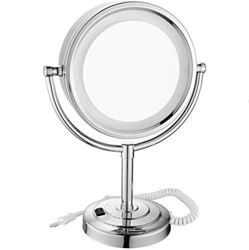 DROHE-Q Beleuchteter Schminkspiegel, LED-Doppelseitiger Vergrößerungs-Kosmetikspiegel 360 Grad-Umdrehungs-Tischplatten-Eitelkeits-Spiegel -