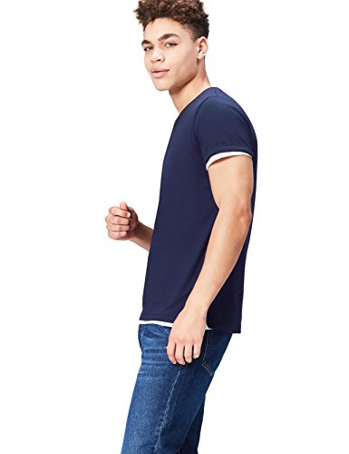 FIND Side Split Crew Neck Tee, Camiseta Para Hombre, Azul (Navy), X-Large