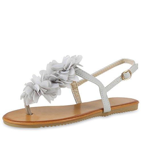 Modische Damen Sandalen Blumen Zehentrenner Sommer Schuhe Party Abiball Hochzeit Hellgrau Creme
