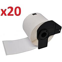 Prestige Cartridge DK-11202 - Cinta para impresoras de etiquetas Brother (62 mm x 100 mm, 20 rollos, 300 etiquetas por rollo) color blanco