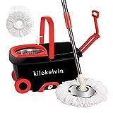 kilokelvin Turbo EasyWring & Clean Komplett Set Wischmop und Eimer mit PowerSchleuder