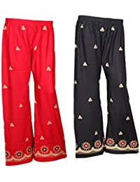 IndiWeaves Rayon Embroidered Trendy And Stylish Pallazo Pants For Women(Pack Of 2)_Black/Red_FREE SIZE_7199089...