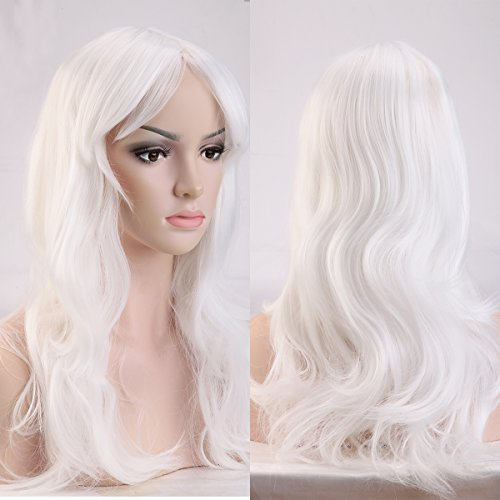 S-noilite Fashion Long Hair Full Wigs for Cosplay Halloween Christmas Parties Daily Wig (19-Curly, White) by S-noilite White Lace Fringe