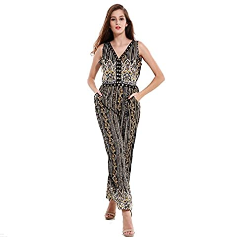 Sugarwewe Sexy Deep V Sleeveless Open Waist Long Pants Printed Jumpsuit Romper Black XL