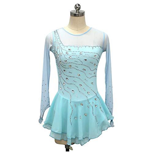 XIAOY Eiskunstlauf Kleid Bekleidung für Mädchen und Frauen Handgefertigt Eislaufen Wettbewerb Eistanz Performance Kostüm,Blue,XS