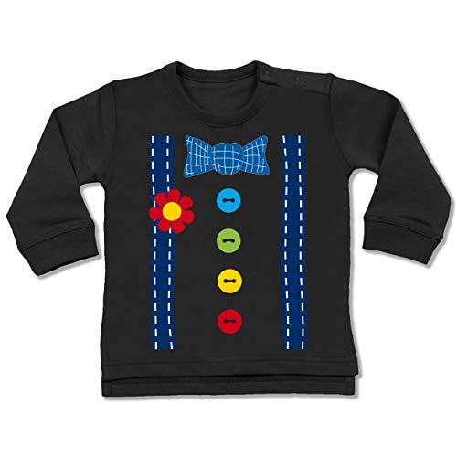 Spaßmacher Kostüm - Shirtracer Karneval und Fasching Baby - Clown Kostüm blau - 6-12 Monate - Schwarz - BZ31 - Baby Pullover