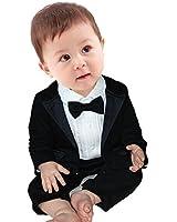 YiZYiF 2pcs Kleinkind Baby Jungen Bekleidung Set Coat + Body Jumpsuit Gentleman Taufe Anzug 0-24 Monate