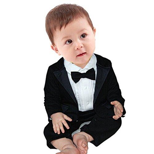 YiZYiF 2pcs Kleinkind Baby Jungen Bekleidung Set Coat + Body Jumpsuit Gentleman Taufe Anzug Weiß + Schwarz 12-18 Monate