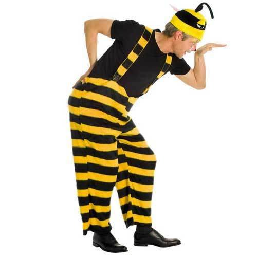 Herren-Kostüm Biene, Trägerhose, Gr. L
