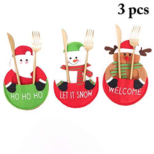 Joyibay 3PCS Christmas Tableware Holder Cute Cartoon Cutlery Pocket Xmas Table Decor