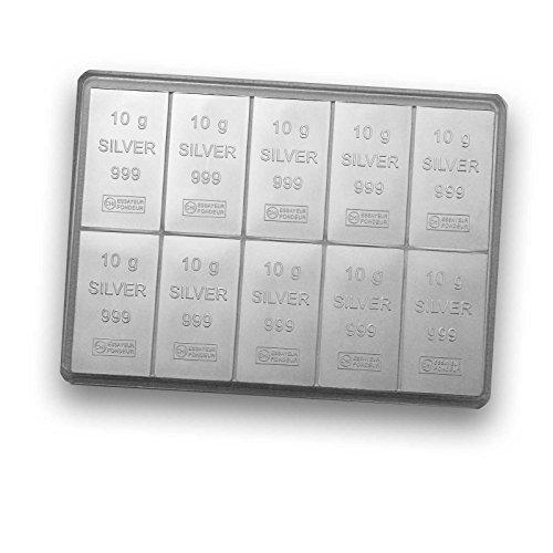 Silberbarren 10x 10g von Valcambi (1 Gramm Silberbarren)