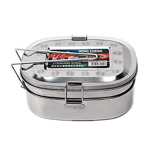 Milopon Lunchbox Edelstahl Brotdose Frühstücksbox Metall Lunchbox Bento Box Proviantdose Frischhaltedose für Schule Picknick Camping