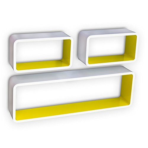 Set de 3 étagères murales cube meuble rangement blanc et jaune ETA06048