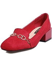 Unbekannt Damen Pumps Bequem Blockabsatz Klassische Eckig Zehen Elegant OL Schuhe Mary Jane Schuhe Schwarz 34 EU IA3bz