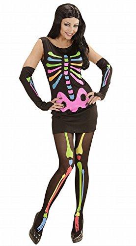 Widmann 00242 - Erwachsenenkostüm Neon Skeleton Girl, Kleid und Armstulpen, Gröߟe M (Deutsch Kostüme Für Frauen)