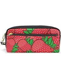 aabd6d280 Estuche para estudiantes, diseño de fresas de verano, color rojo,  poliuretano, organizador de lápices, estuche para mujer, cartera…