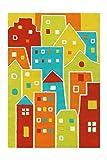 Arte Espina Teppich Spirit Glowy 3139 Multi Houses 110cm x 160cm