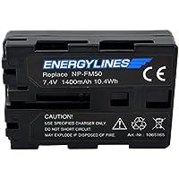 energyl Ines batería para Sony NP-FM50, ion de litio, 7.4V, 1400mAh, equivalente a: SONY CYBER-SHOT DSC-F707Cyber-shot DSC-F717Cyber-shot DSC-F828Cyber-shot DSC-R1Cyber-shot S30Cyber-shot S50Cyber-shot S70Cyber-shot S75Cyber-shot DSC-S85de MVC-CD200, CD250de MVC MVC CD300MVC-FD90CD350MVC CD400MVC-FD90CD500DSR de DSR-PDX10P HVR-M10C A1HVR-A1E HVR-A1J HVR-M10C HVR-A1N HVR-A1P HVR-A1U