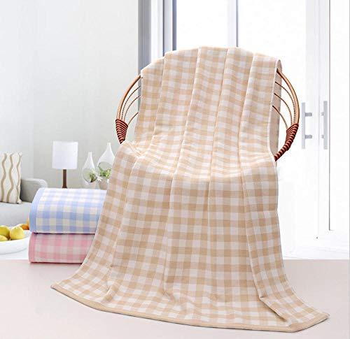 KDMDMORED Baumwolltuch, hochwertiges Kariertes Baumwolltuch, dreiteiliges Baumwolltuch,Mandel,1 140 * 70 cm + 2 34 * 75 cm - Trockner Mandel