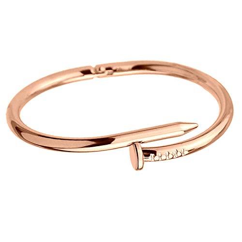 AiLove Charmband Bracelet Armband Unisex Schmuck,Nägel öffnen Paar Armbänder,Boutique Happiness Freundschaft Armreif,Gold Roségold Silber