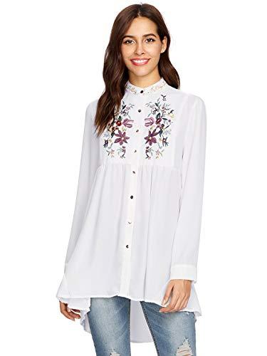 ROMWE Damen Lang Bluse mit Blumen Stickerei Stehkragen Locker Vorne Kurz Hinten Lang Bluse Weiß Einheitsgröße