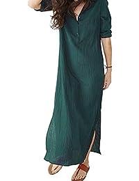 be7ac87f8df1f1 MAGIMODAC Maxikleider Damen Sommerkleid Leinenkleid Strandkleid Langes Kleid  Longblusen 3/4 Ärmel Luftig 32 34