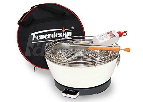 Rauchfreier Holzkohle Tischgrill VESUVIO v. Feuerdesign - Cremeweiss, im Spar Pack mit Grill-Zubehör