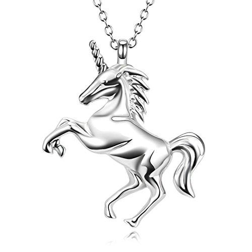 9a8b0403c5 Unicorn Magic - Collar con colgante de plata de ley 925 chapado en oro  blanco para